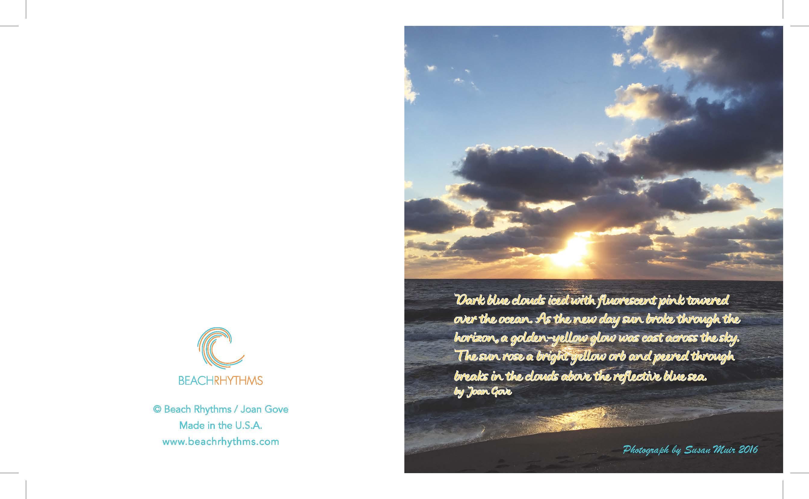 Beach Rhythms Sunrise vertical notecard